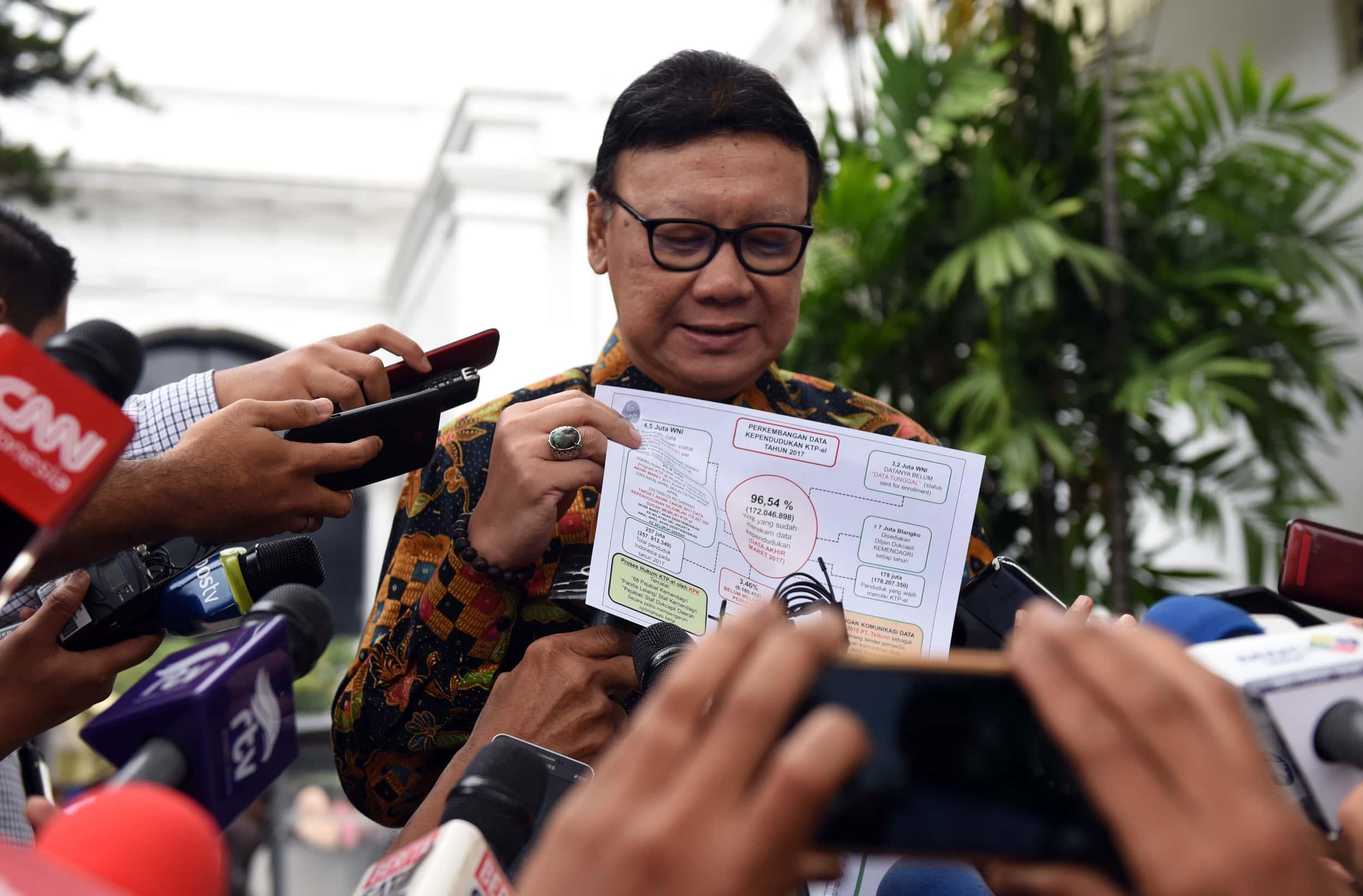 Mendagri Tjahjo Kumolo menjawab wartawai usai sidang kabinet paripurna, di Istana Negara, Jakarta, Selasa (4/4) siang. (Foto: Rahmat/Humas)