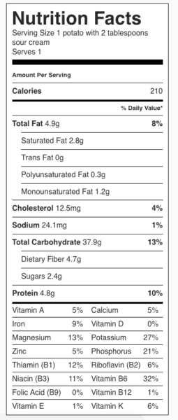 Baked Potato with Sour Cream Nutrition Label