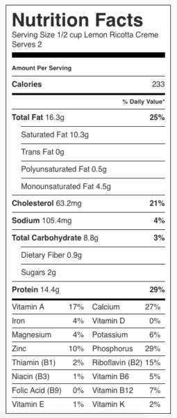 Lemon Ricotta Creme (Pudding) Nutrition Label. Each serving is 1/2 cup.