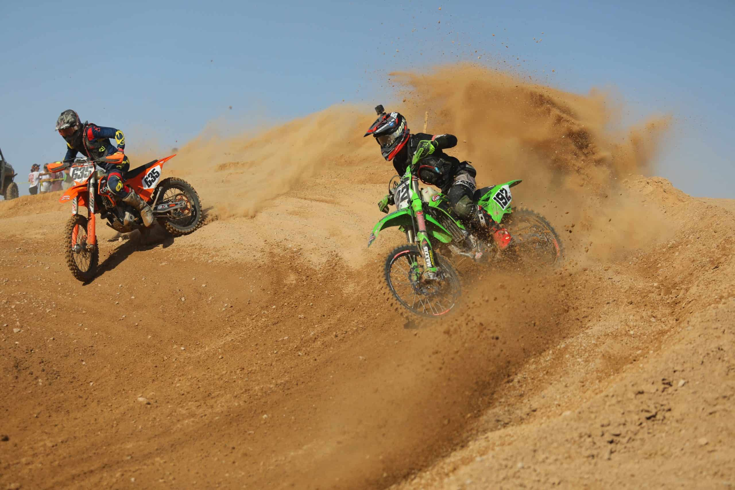 JP Alvarez riding his kx250 at the 2020 blythe worcs race