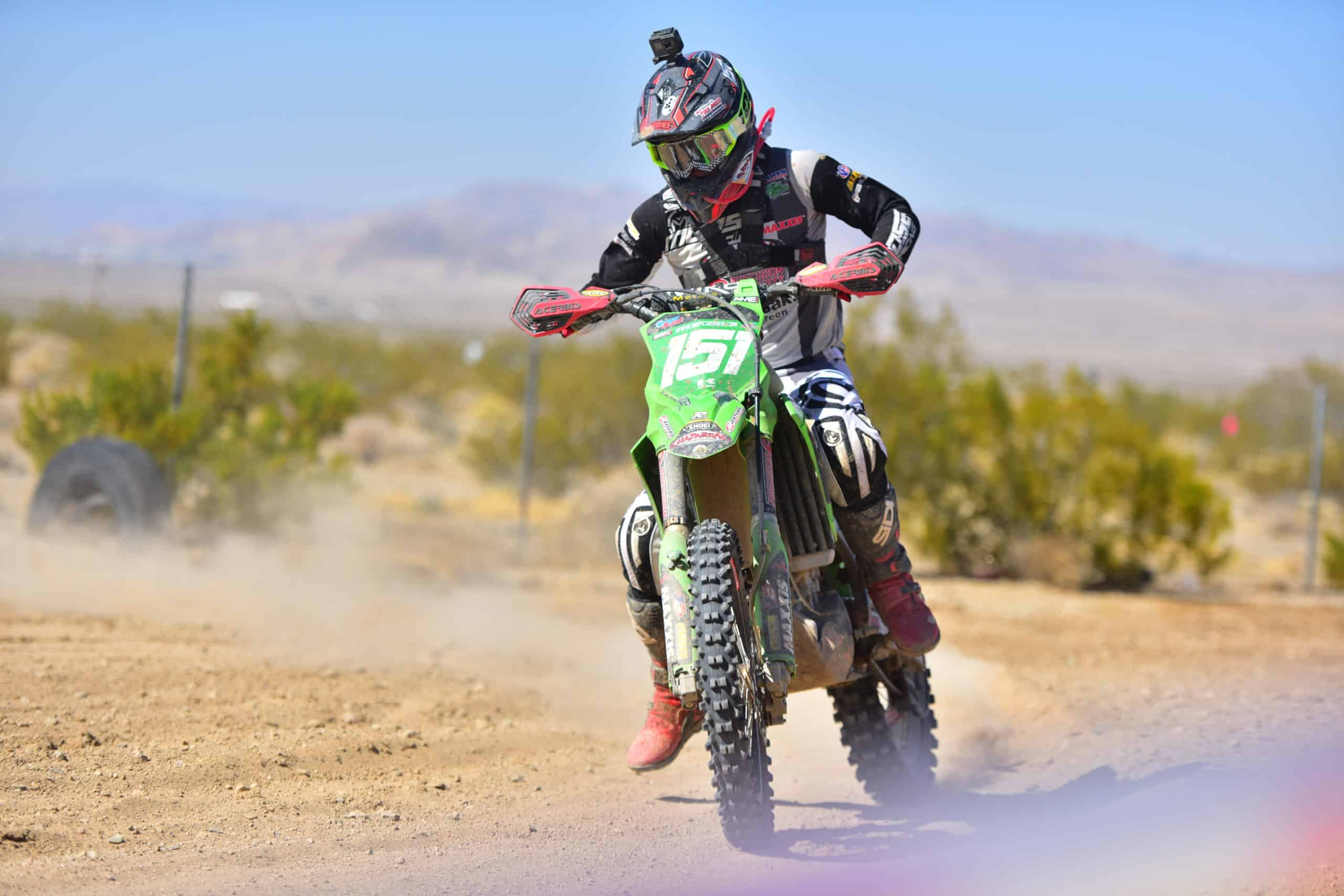 clay hengeveld on his kx250 at the 2020 29 palms 1 ngpc race
