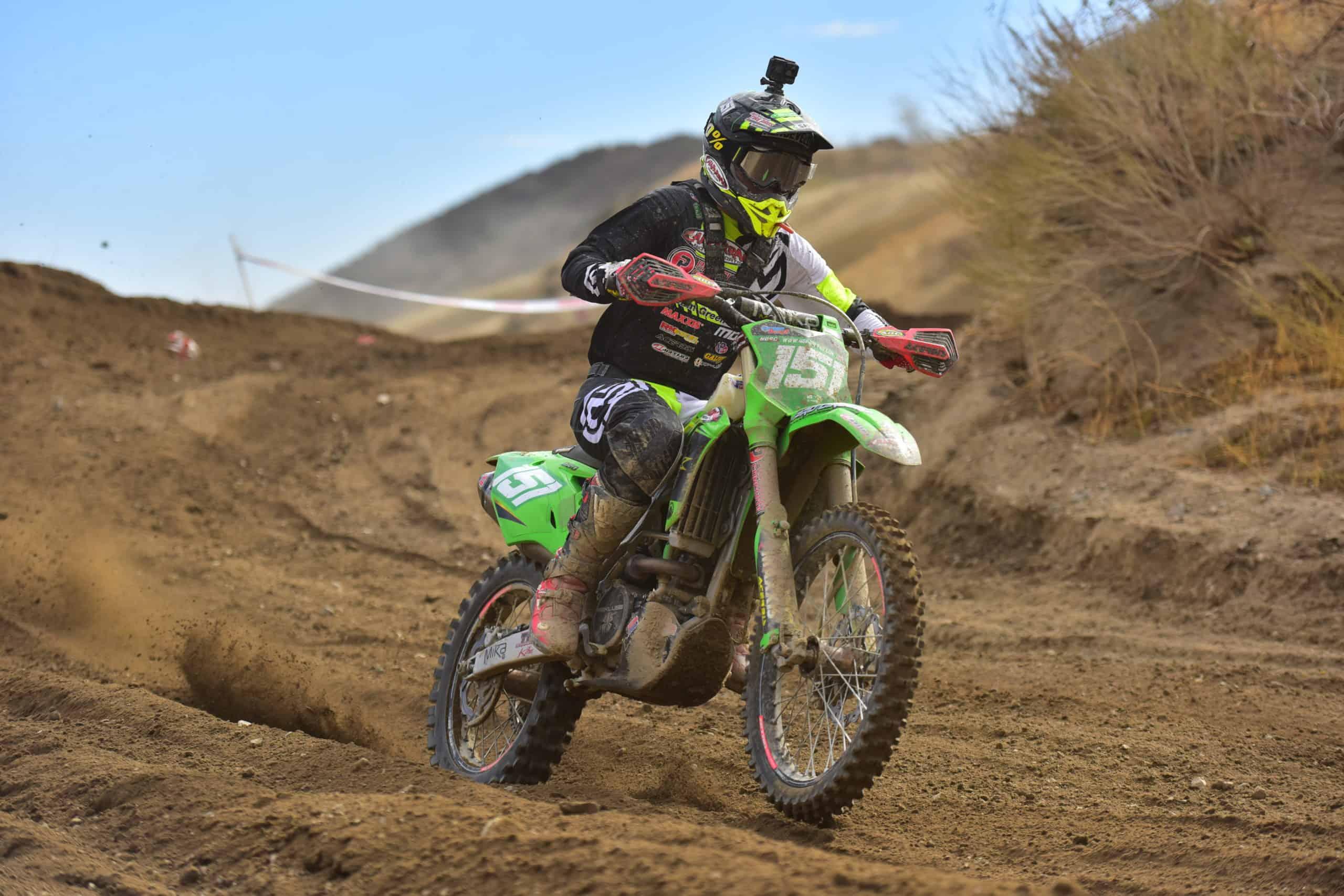clay hengeveld riding his kx250 at the 2020 glen helen 2 ngpc race