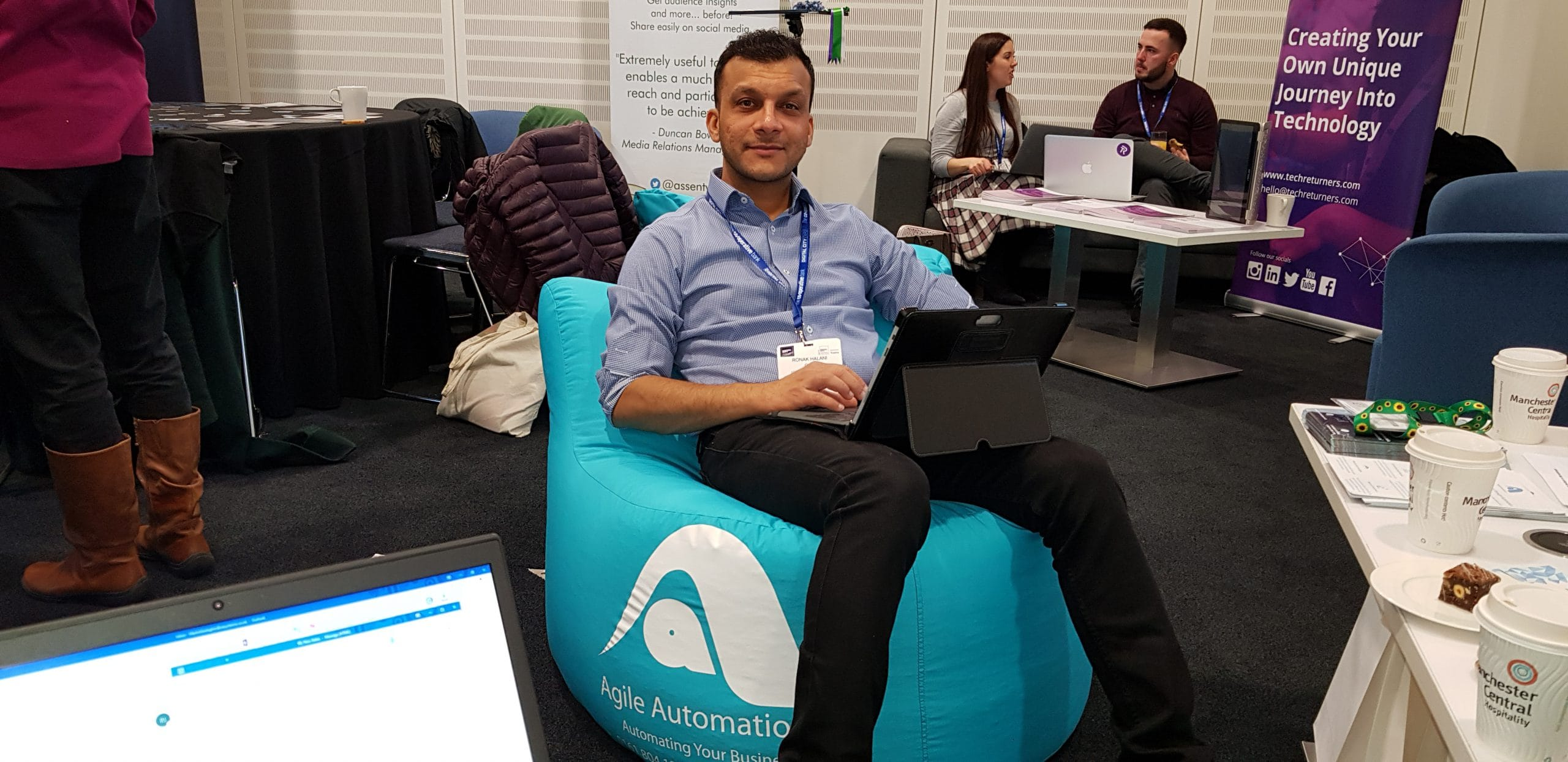 Ronak Halani Sitting on Agile Automations Beanbags