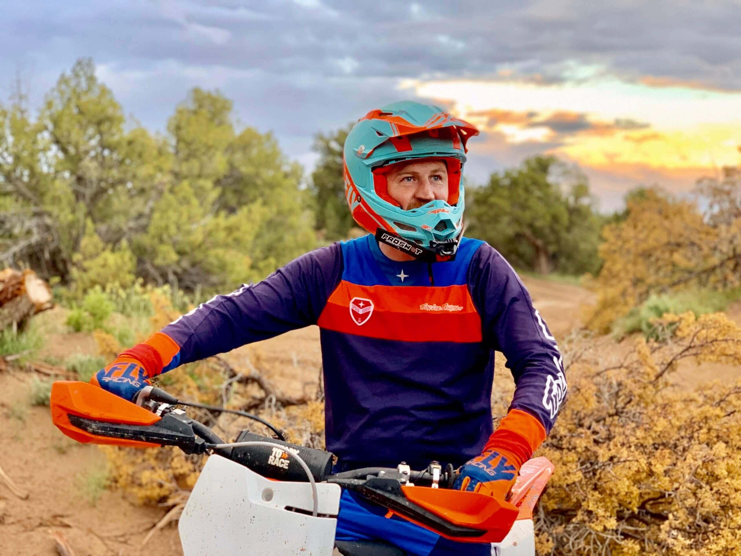 Sam Oldham from Dirtbike Sam on his dirt bike