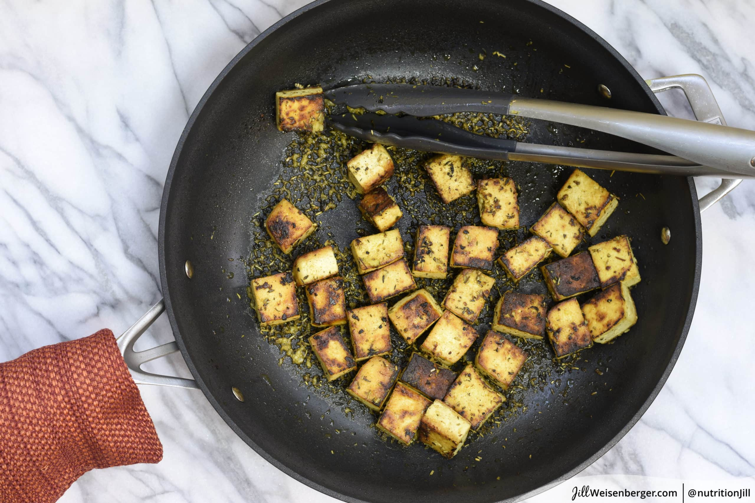 marinated tofu cooked in a skillet