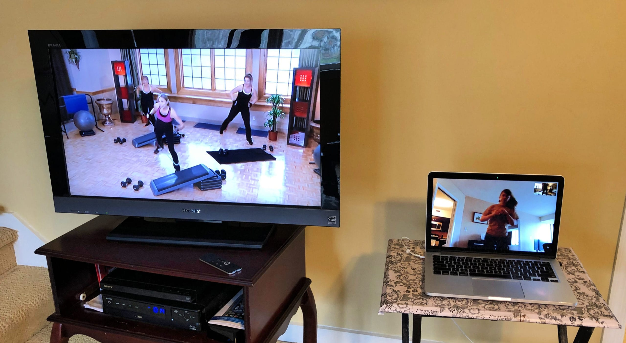 Working out at home using FaceTime and a TV