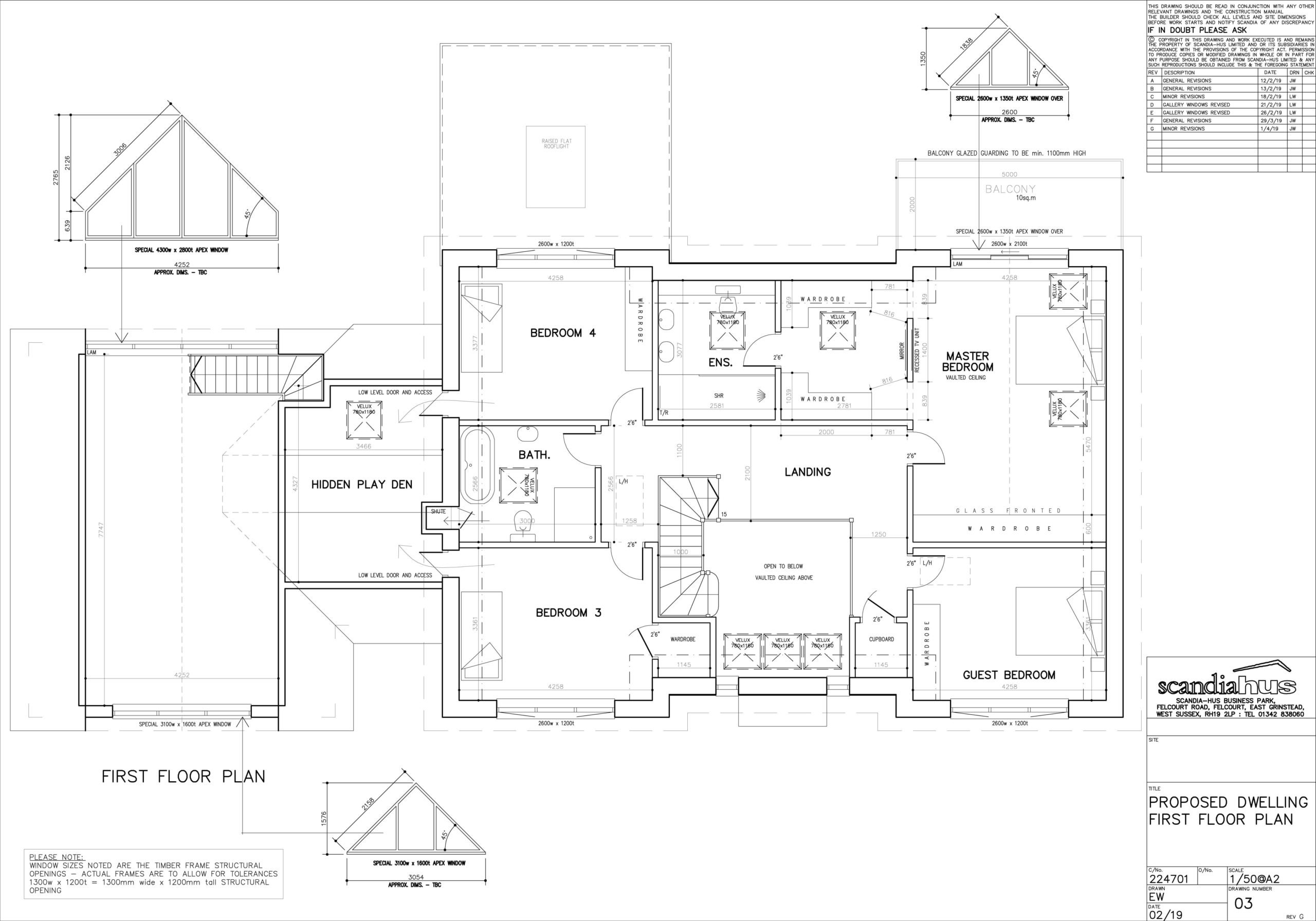 First floor plans of Scandia Hus new build to help plan air conditioning with SubCool FM