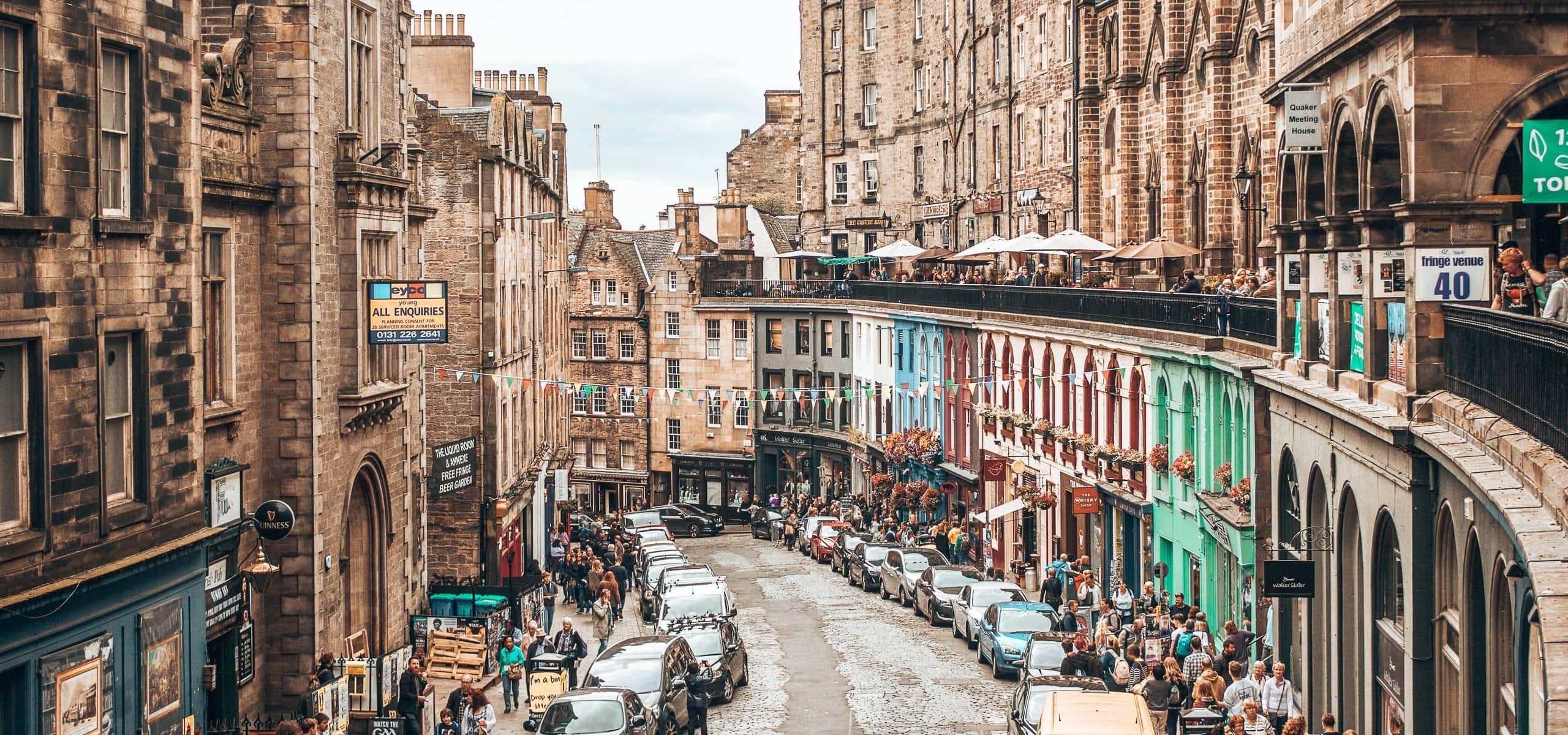 Looking down crowded West Bow in Edinburgh, Scotland