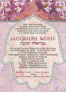 Hamsa Bat Mitzvah Invitation by Mickie Caspi