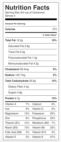 Colcannon Nutrition Label. Each serving is about 3/4 cup.