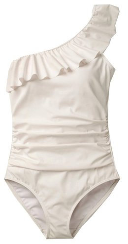 Best bathing suits for women - BODEN Frill One Shoulder Swimsuit | 40plusstyle.com
