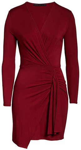 Fraiche by J sleeve ruched faux wrap mini dress | 40plusstyle.com