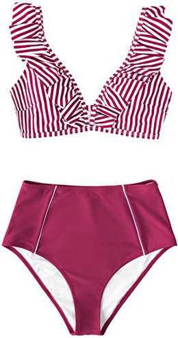 CUPSHE Ruffle High Waist Bikini Set   40plusstyle.com