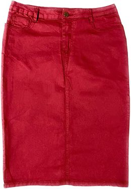 Marianlous below the knee denim skirt | 40plusstyle.com