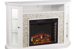 rollins white electric fireplace tv stand