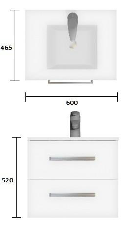 Wall Hung Vanity Strata Duo 600mm