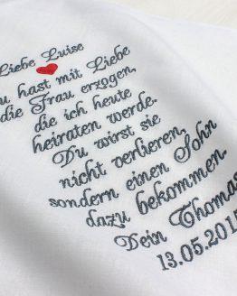 Besticktes Taschentuch zur Hochzeit für die Schwiegermutter oder den Schwiegervater des Bräutigams
