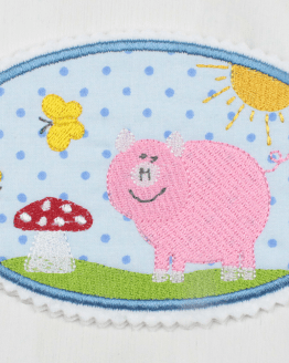 Bügelbild Schweinchen zum Aufbügeln, Applikation, Aufnäher, Flicken, Fliegenpilz, Sonne, Schmetterlinge, Schweinchen, Schwein