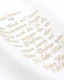 Besticktes Stofftaschentuch für die Brautmutter oder für den Brautvater zur Hochzeit für die Freudentränen