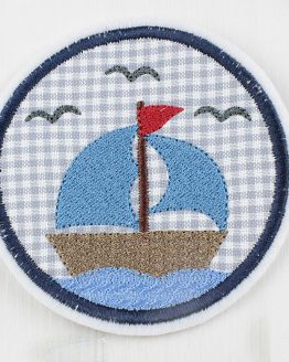Applikation, Aufnäher, Flicken, Bügelbild Segelschiff, Segelboot, Boot, Schiff