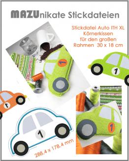 Stickdatei Auto ITH, Traubenkernkissen, Körnerkissen in the hoop. Auto Stickdatei, Stickdatei ITH Rahmen 18 x 30 cm, Rahmen 180 x 300 mm