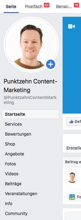 Facebook Shop erstellen Menü