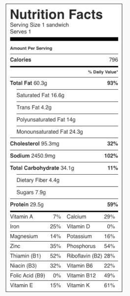 Classic Corned Beef Reuben Sandwich Nutrition Label. Each serving is one sandwich.