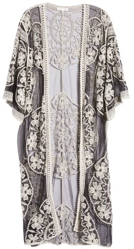 best beach cover ups - Woven Heart embroidered mesh duster | 40plusstyle.com