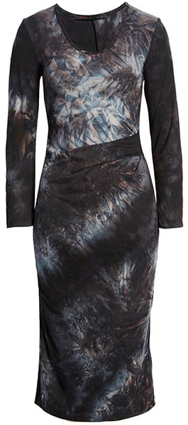 Fraiche by J tie dye pleat midi dress | 40plusstyle.com