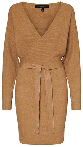 Warm winter dresses - VERO MODA tie waist sweater dress | 40plusstyle.com