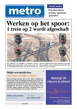 cover van metro op 13 Juni 2013, één grote advertentie voor nivea stress protect