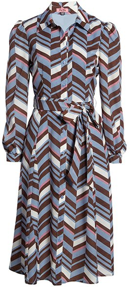 Chi Chi London geo print shirt dress | 40plusstyle.com
