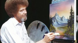 Image: Bob Ross painting a portrait at his easel