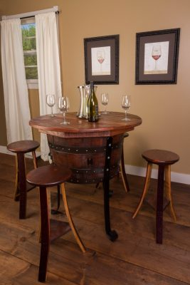Wine Barrel Table Set with 4 Wine Barrel Stools