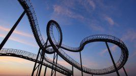 Image: A famous, wild roller coaster at dusk in Germany