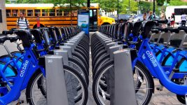 Image: Citi Bike docking area full of bikes
