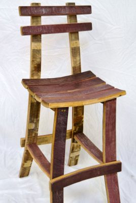 Wine Barrel Bar Stool w back