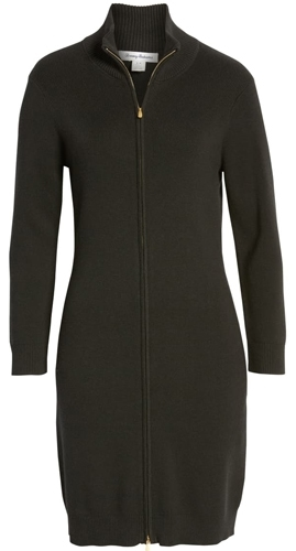 Tommy Bahama rib full zip sweater dress | 40plusstyle.com