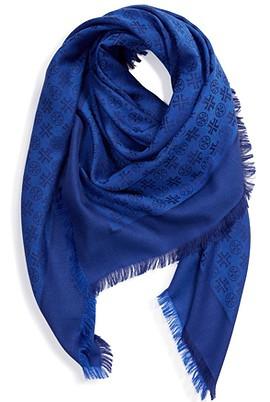Tory Burch traveler logo jacquard wool & silk scarf | 40plusstyle.com