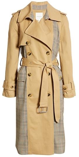 Nordstrom half yearly sale - Avec Les Filles Plaid Combo Cotton Blend Trench Coat | 40plusstyle.com