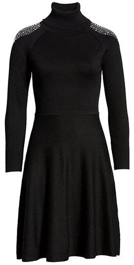 Eliza J turtleneck fit & flare sweater dress | 40plusstyle.com