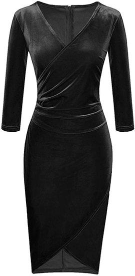 Fantaist velvet wrap sheath cocktail pencil dress | 40plusstyle.com