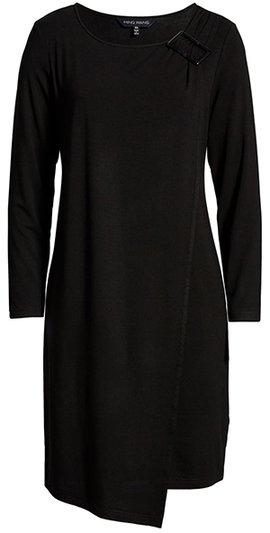 Ming Wang asymmetrical  hem sheath dress | 40plusstyle.com