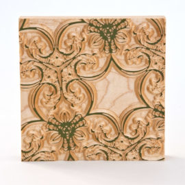 Wallpaper pattern wall decor, carved in sold maple with Bayberry Milk paint details