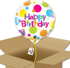 Bouquet de Ballons très coloré avec poids pour un anniversaire dans sa boite