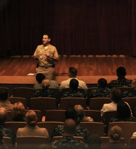 Capt. Joel A. Roos leads a training session at Naval Medical Center San Diego. (U.S. Navy photo)
