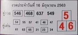 หวยคู่รวย คู่เด่น งวดวันที่ 16 มิถุนายน 2563