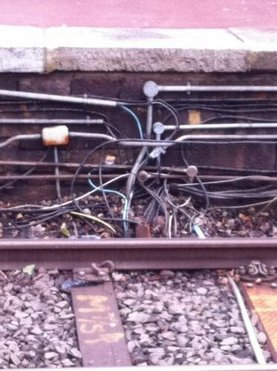 Complicated wires on a train track