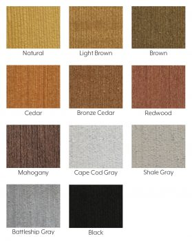 Color Swatches- SEAL-ONCE wood stain color tints