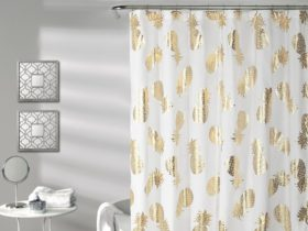 Lush Decor pineapple toss white and gold shower curtain